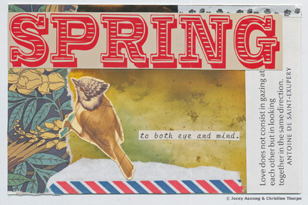 """Spring"" collage postcard by Jocey Asnong and Christine Thorpe."