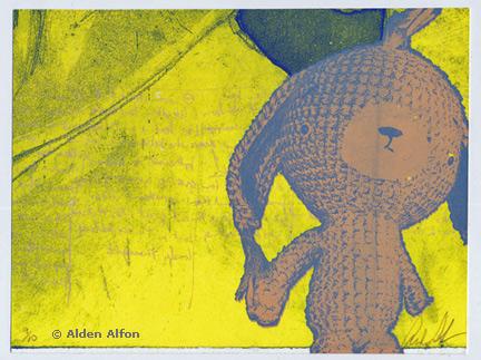 Screen printed postcard by Alberta printmaker, Alden Alfon (www.burnttoaststudio.com)