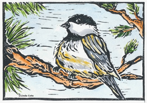 "LINDA COTE ""Chickadee Rests"" Limited Edition Print"