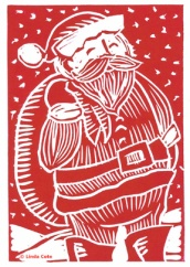 LINDA COTE-Retro Santa Christmas Card