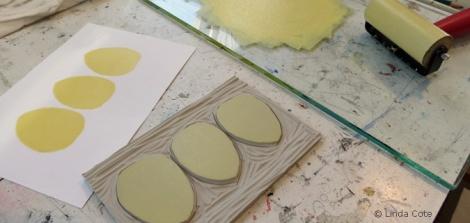 LINDA COTE-egg block and card