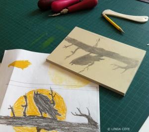 LINDA COTE-Carve raven sketch