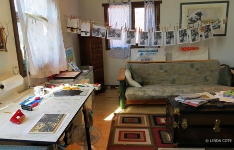LINDA COTE-prints hanging in studio
