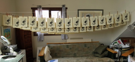 LINDA COTE-Blackbird prints drying