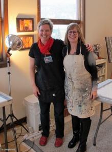 Linda Cote & Barb Fyvie in Studio