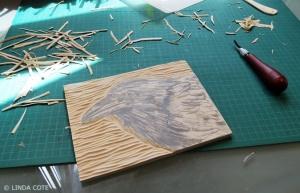 LINDA COTE-Young Raven Block Carving