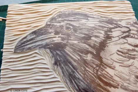 LINDA COTE-Young Raven Block