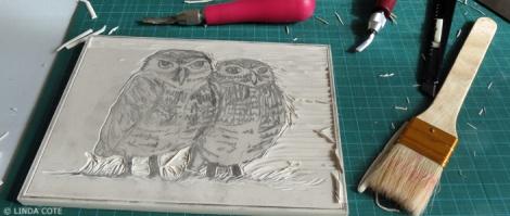 LINDA COTE-Owl carving