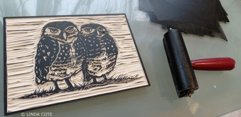 LINDA COTE-Owl inking