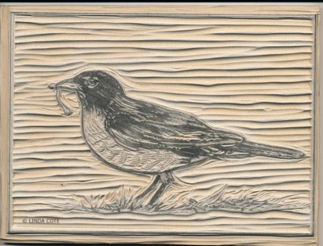 LINDA COTE-Robin Block carved