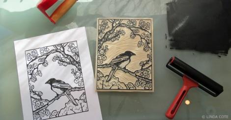 LINDA COTE-Inking Magpie Block