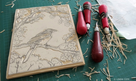 LINDA COTE-Magpie and Cherry Blossom