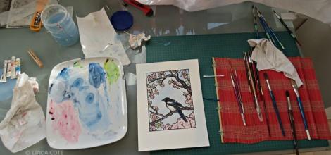 LINDA COTE-Painting Magpie Prints