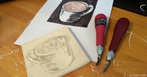 LINDA COTE-carving coffee block
