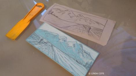 LINDA COTE-Ski block and tracing paper