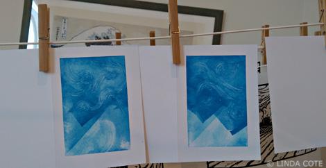LINDA COTE-Blue Inked Cards