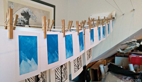 LINDA COTE-Blue Ink Cards drying