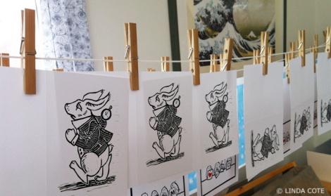 LINDA COTE-Harried Hare-print hang