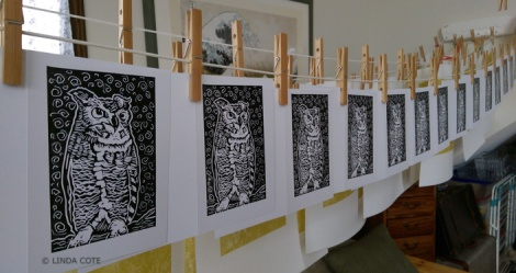 LINDA COTE-Owl Cards drying