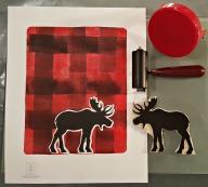 LINDA COTE-Plaid Moose-baren